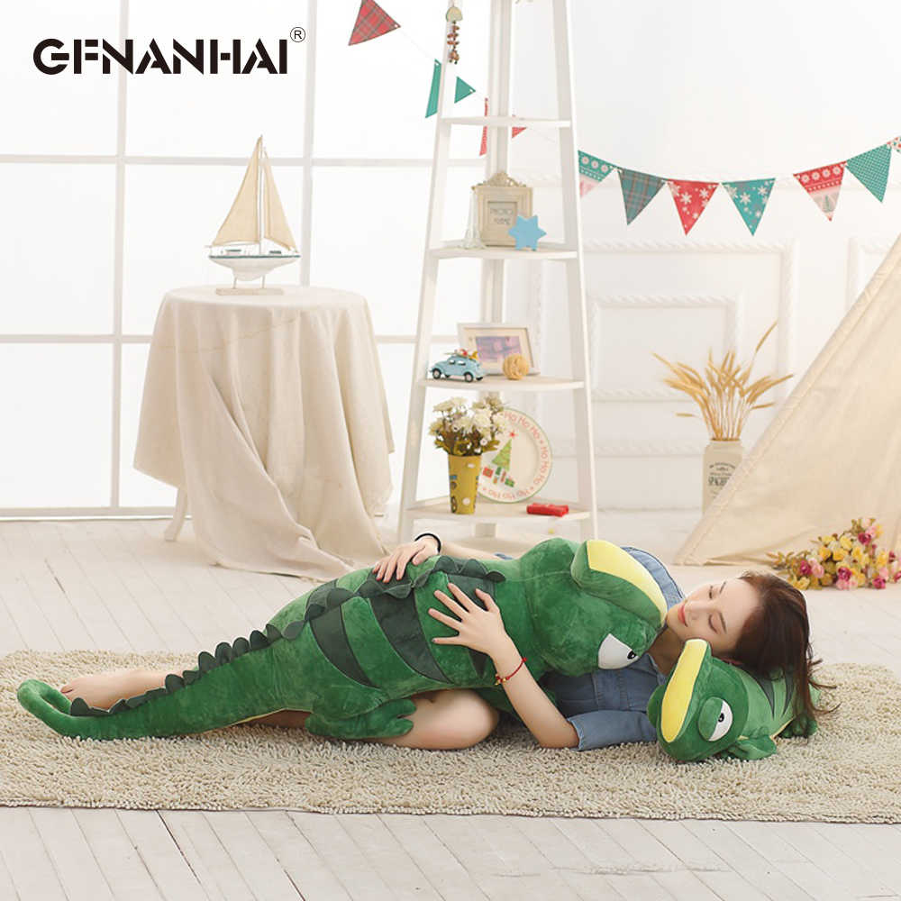 Grande Simulação Dinossauro Brinquedos de Pelúcia Camaleão Travesseiro Macio Brinquedo Modelo Animal Dos Desenhos Animados para Crianças Meninos Do Bebê Presentes De Aniversário Da Boneca