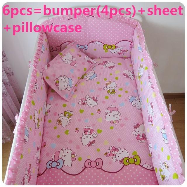 Promoción! 6 unids juegos de cama de bebé cuna ropa de cama de cama niños ropa interior, incluyen ( bumpers + hojas + almohada cubre )