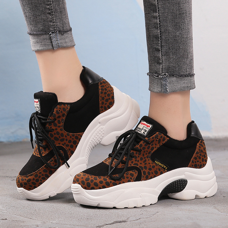 Women's Leopard Casual Shoes 2019 Fashion Ladies Sports Shoes Popular Comfortable Women's Shoe Brown Lace Casual Shoes Sneakers