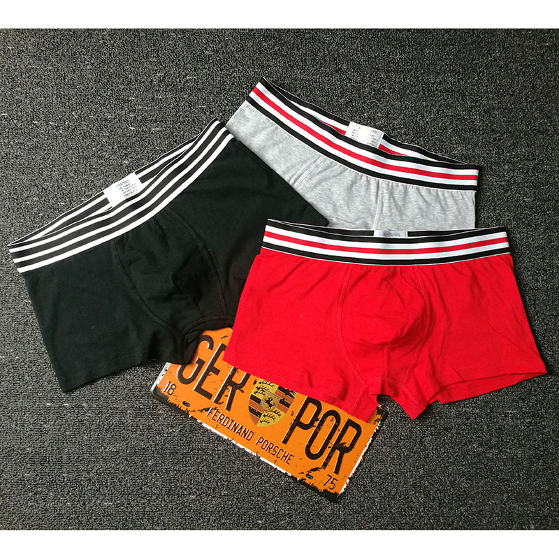 3Pcs/lot Striped waist belt Boxer Men Underwear combed Cotton Colorful Breathable Solid Flexible Shorts Underpants