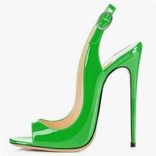 цена на Green Patent Leather Peep Toe Slingback Stiletto High Heels Pumps Women Shoes Customized Cut-out Patchwork Women Shoes High Heel