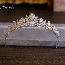 Bavoen Одежда высшего качества Европейский невесты корона циркония невесты тиара листья кристалл Hairbands вечерние Женские аксессуары для волос