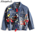 Neophil 2016 Fall Winter High Waist Women Ripped Short Denim Jackets Ladies Tassel Patches Butterfly Embroidery Jean Coat C08029