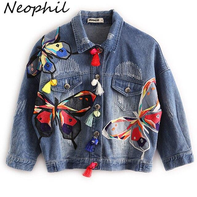 Neophil 2016 Outono Inverno Cintura Alta Mulheres Jeans Rasgados Curtas Jaquetas Jeans Senhoras Borla Casaco Jean C08029 Remendos do Bordado Da Borboleta