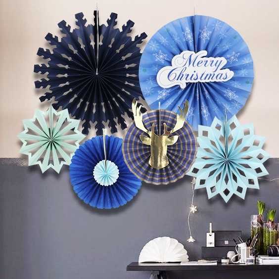 2017 NEW Christmas Pinwheel Rosettes Paper Fans Decor Holiday Backdrop Xmas Paper  Craft Kit Party Rosettes Christmas Tree Decor In Pendant U0026 Drop Ornaments  ...