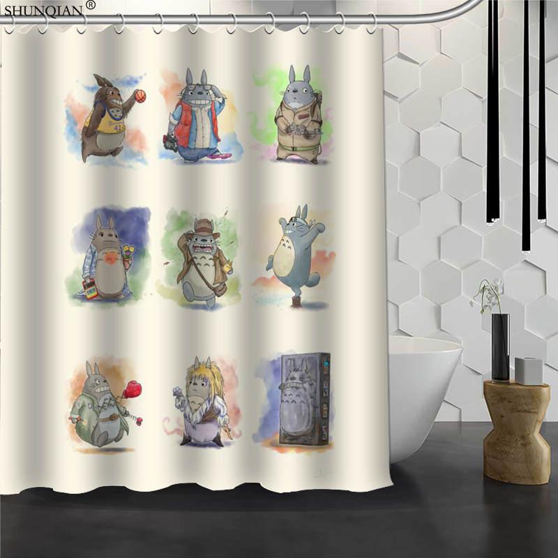 Totoro Shower Curtain Waterproof Fabric Bath Curtain Polyester Fabric Bathroom Curtain 180X200cm150X180cm