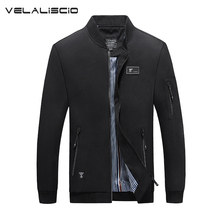 VELALISCIO Big Size 4XL Mens Spring autumn Jackets Casual Male Windbreakers College Bomber Black Windcheater Black Jacke