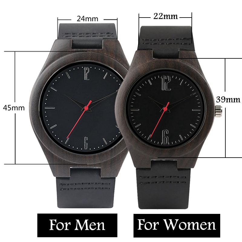Lovers Gifts Luxury Royal Ebony Wood Watch Mens Fashion Wooden Women Dress Clocks Male Genuine Leather Valentine's Day Relojes