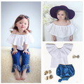 Summer Baby girls solid white blouses kids cotton princess ruffles collar shirts boat neck shirt girl cute fashion clothes