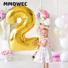 1PCS 40 אינץ זהב כסף מספר רדיד בלוני 0 1 2 3 ספרות הליום baloon שלי 1st 30th יום הולדת ספקי צד התפאורה יום השנה