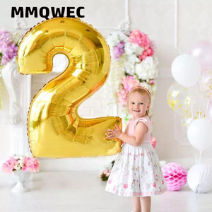 Image 1 - 1PCS 40inch gold silver number foil balloons 0 1 2 3 digit helium baloon my 1st 30th birthday party supplies Anniversary decor