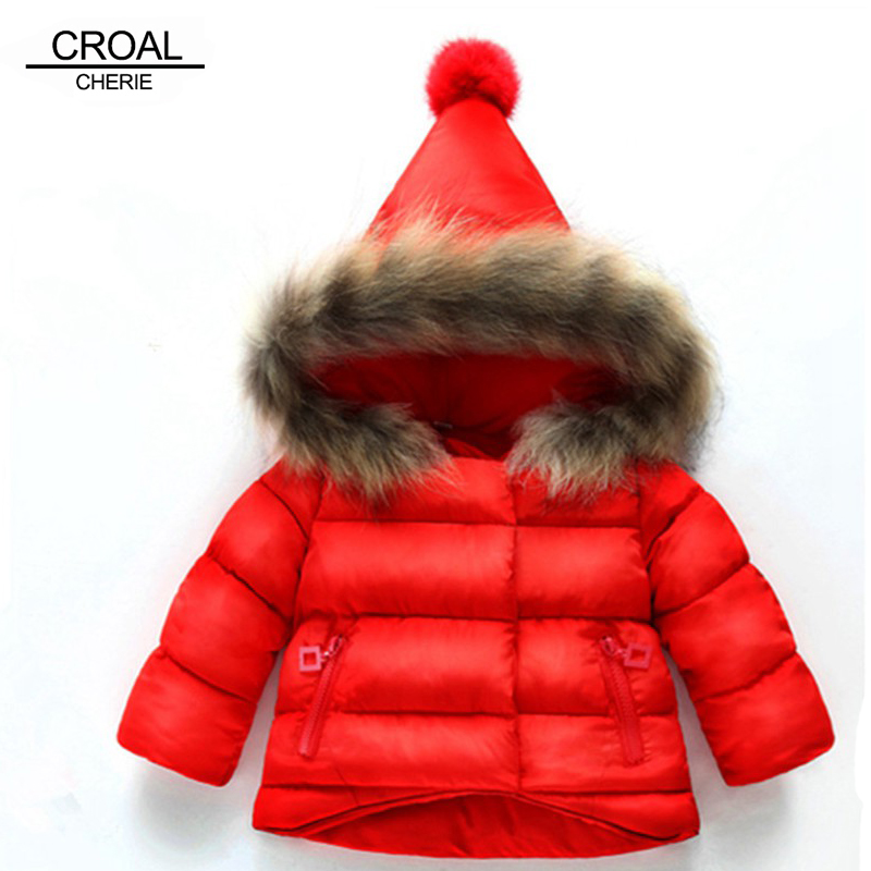 CROAL CHERIE Girls Outerwear Jacket Girls Winter Parka Cotton Coat Jacket Padded Overcoat with Raccoon Fur Hood 80-130cm CROAL CHERIE Girls Outerwear Jacket Girls Winter Parka Cotton Coat Jacket Padded Overcoat with Raccoon Fur Hood 80-130cm