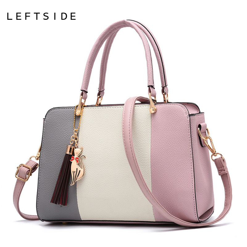 LEFTSIDE 2018 Summer Women Hit color Leather Handbags Casual Tote bags Crossbody Bag Top-handle bag With Tassel And Cat Pendant casual rivets and tassel design crossbody bag for women href