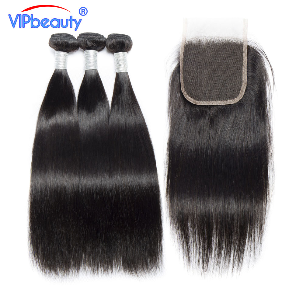 Vip Beauty Brazilian Straight Hair With Closure Human Hair Weave Remy Extensions Free Part 4x4 Lace Closure With 3 Bundles Deal