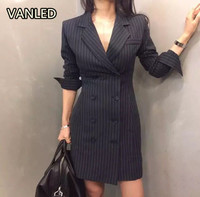 Office Lady Slim Blazer Elegant Double Breasted Sexy Thin Women's Blazer Dress