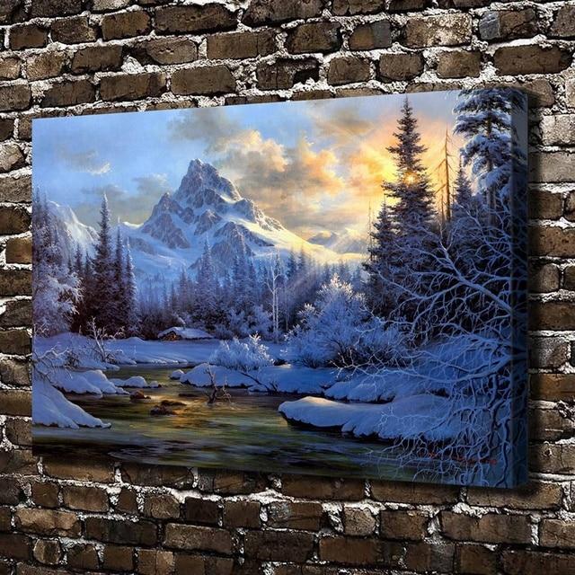 10625 Montagna Neve Casa Sull\'albero Fiume Paesaggio, HD Stampa Su ...