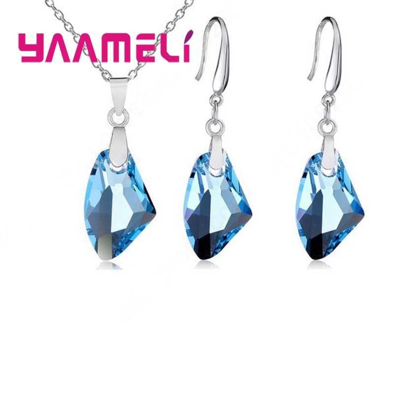 NEUE 925 Sterling Silber Schmuck Sets Geometrische Österreichischen Kristall Anhänger Halskette Haken Earwire Ohrringe Hochzeit Zubehör