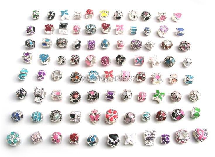 Prix pour Livraison gratuite 50 pcs mix couleur huile goutte à goutte perles fit européenne Pandora bracelet bricolage