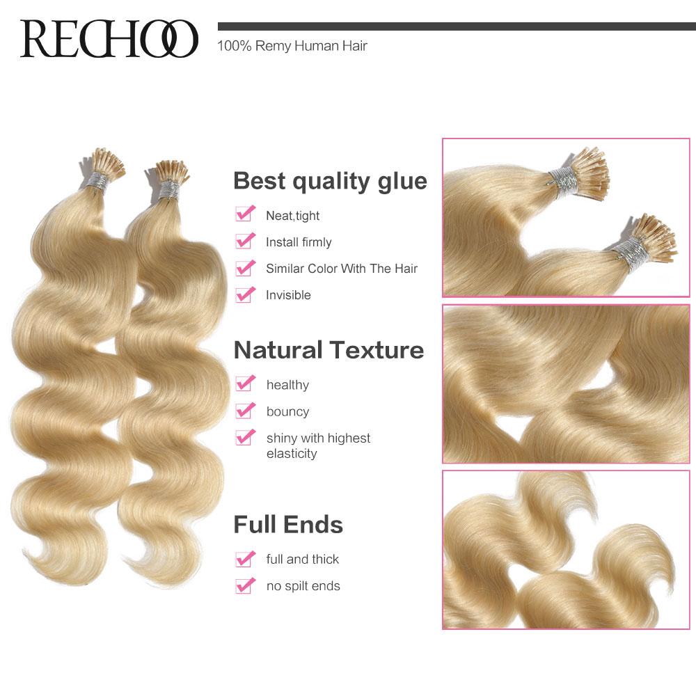 Rechoo 100g / partii 100s eelvormitud fusiooni I-otsaga - Inimeste juuksed (valge) - Foto 4