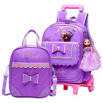 Travel Luggage Sets | Children School Bags Set With 2/6 Wheels Primary Student Trolley Backpack Girls Rolling Luggage Travel Bag On Wheels Bagpack