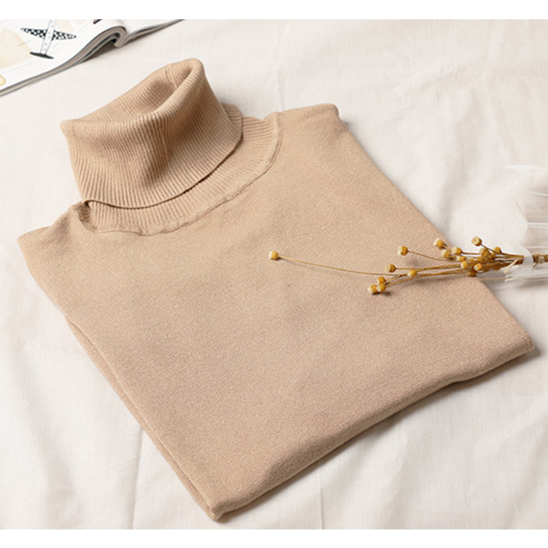 Autumn Winter Thick Elasticity Casual Pullovers Female Turtleneck Knitted Women Lady Basic Sweater Solid Color Bottoming Sweater