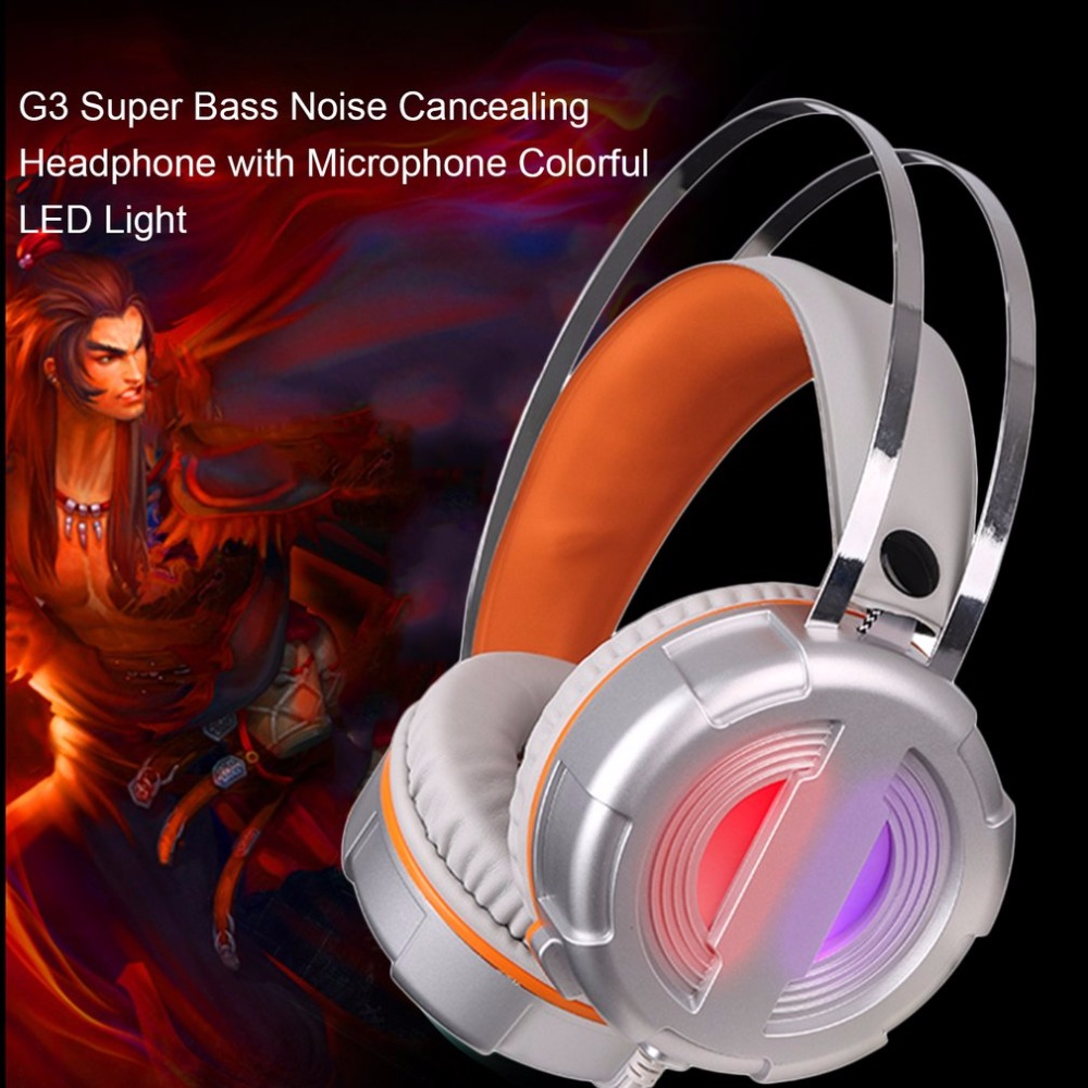 G3 Gaming Headset LED Light Glow Noise Cancealing Pc Gamer Super Bass Headband Headphones With Microphone For Computer PC deepdee gaming headset stereo headphones with microphone for xiaomi internet computer gamer noise canceling music bass headband