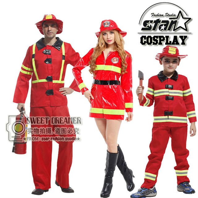 Family Matching Halloween Cosplay Costumes Fireman Clothing Performance Clothes Uniform Party Suit Clothing Dress Cute  sc 1 st  AliExpress.com & Family Matching Halloween Cosplay Costumes Fireman Clothing ...