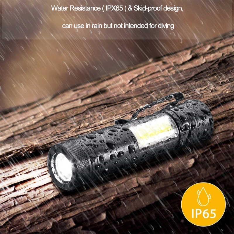 3800лм XML-Q5 + COB светодиодный фонарик портативный супер яркий регулируемый фонарь с батареей AA 14500 водонепроницаемый фонарь для освещения