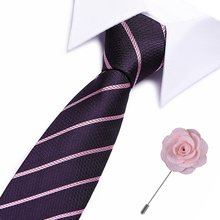 2019 New Slim Tie Sets Design For Men Plaid &Striped 7.5cmTie&flower brooches Business Wedding Party Neck Ties