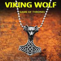 KLDY Nordic Viking wolf kopf Anhänger Halskette 316L edelstahl hammer anhänger game of Thrones Wolf männer Schmuck großhandel