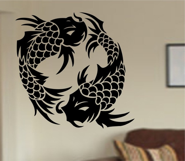 Ying yang fish wall decal japan koi fish pattern cute for Koi fish wall stickers