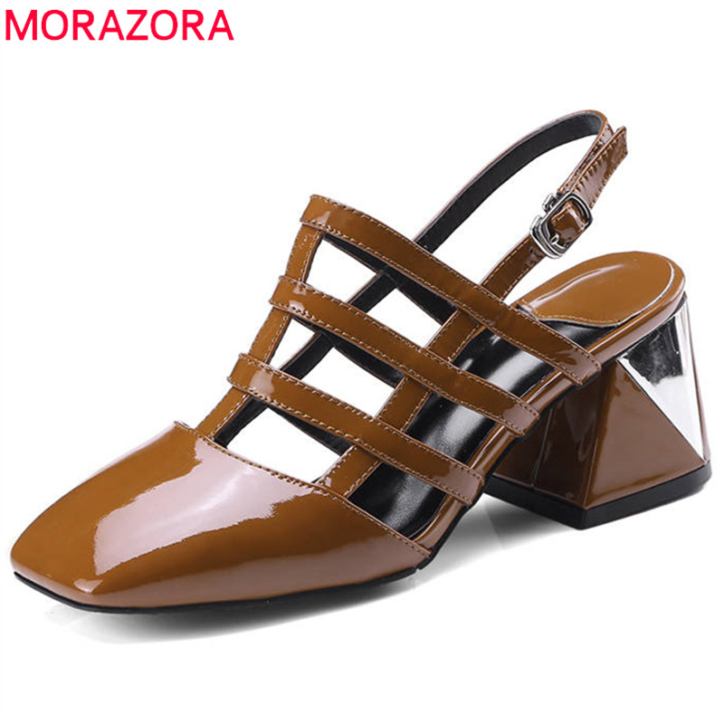 MORAZORA 2018 new style women sandals genuine leather ladies shoes simple buckle hollow out summer shoes square high heels shoes 5 11