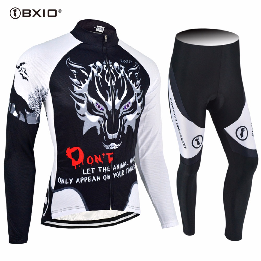 2017 New Arrival BXIO Cycling Jersey Long Sleeve  Kit Wolf Print Autumn Clothing Roupas De Ciclismo Maillot Hombre 068 wolf chain print long sleeve sweater