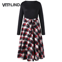 VESTLINDA Plus Size 5XL Plaid Belted Fit And Flare Dress Women O Neck Long Sleeve High