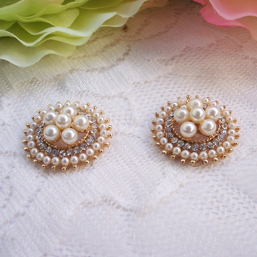 J0535 23mm rhinestone button crystal button flat back light gold plating ivory pearl