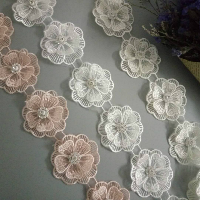 10x 3D Pearl Beaded Flower Embroidered Lace Edge Trim Ribbon Floral Applique Patches Dress Fabric Sewing Craft Vintage 5.5X5.5cm
