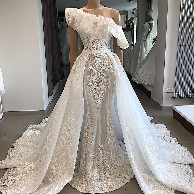 Luxury Customized Lace Embroidery Sequined Wedding Dress 2019 Off Shoulder Wedding Gowns Court Train Dress Robe De Mariee