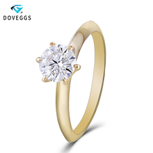 DovEggs 14K Yellow Gold 1ct carat 6.5mm F Color Lab Created Moissanite Diamond Engagement Ring For Women Solitaire Wedding Rings цена 2017