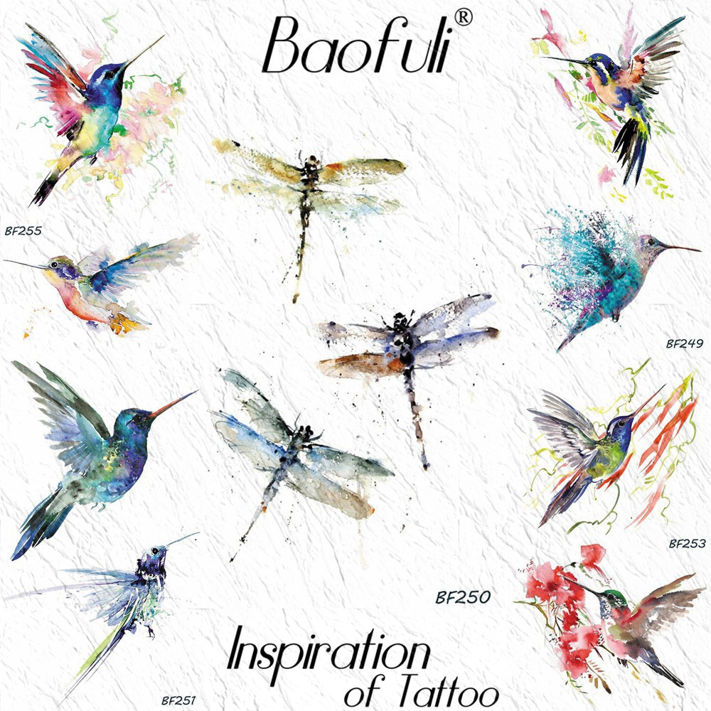 BAOFULI Dragonfly Colorful Ink Temporary Tattoo Sticker For Women Small Wing Body Art Arm Fake Tatoo Girl Watercolor Tattoos