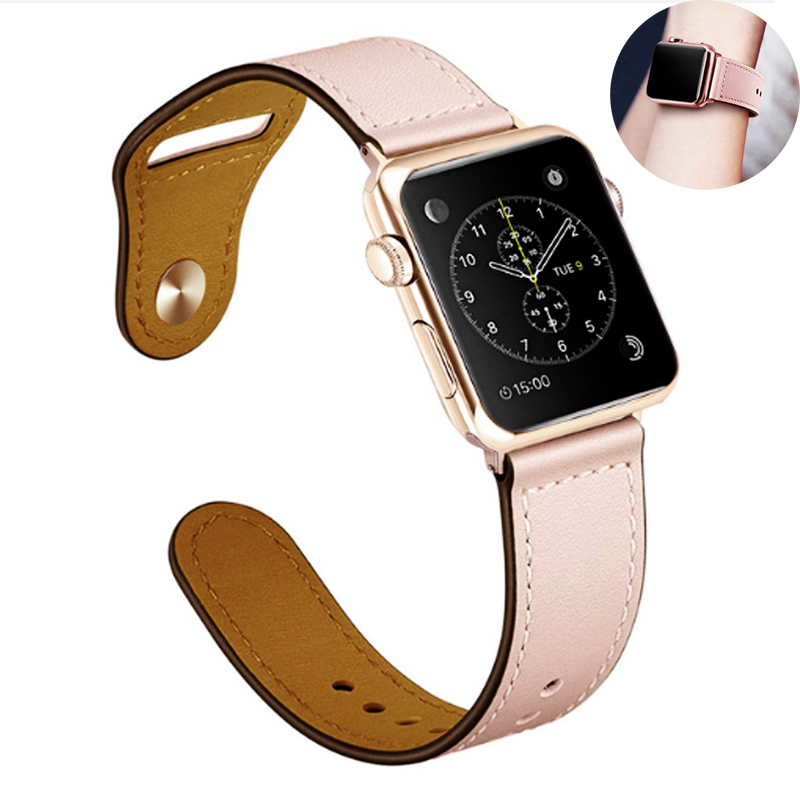 Genuine Leather strap for apple watch band 4 42mm 38mm correa watchband for apple iwatch bracelet 44mm 40mm 3/2/1 accessoriesGenuine Leather strap for apple watch band 4 42mm 38mm correa watchband for apple iwatch bracelet 44mm 40mm 3/2/1 accessories