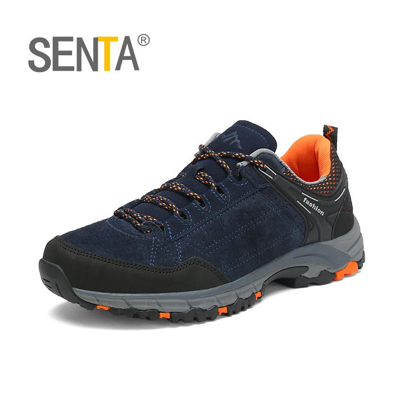 SENTA Genuine Leather Men Hiking Shoes Women Outdoor Sport Shoes Climbing Sneakers Zapatillas Comfortable Boots ...