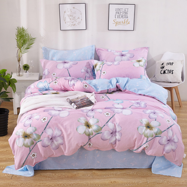 Floral Bedding Set Single Double Queen King Size Fitted Sheet Bed