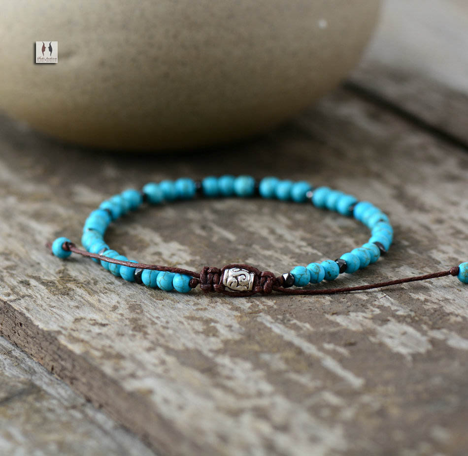 Beaded Charm Bracelets: Boho Bracelet Mens Beaded Bracelet 4mm Turquoise Simple