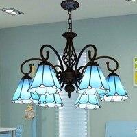 Синий Тиффани фонари Австралии стекло люстра кухня светильники Светильник витражный подвесной 5 фонари декоративные люстры