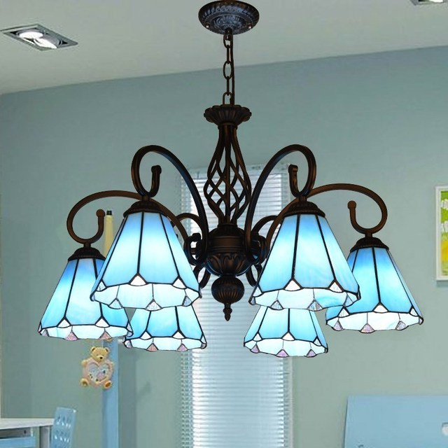 Blue Tiffany Lights Australia Gl Chandelier Kitchen Light Fixtures Stained Hanging Lamp 5 Decorative