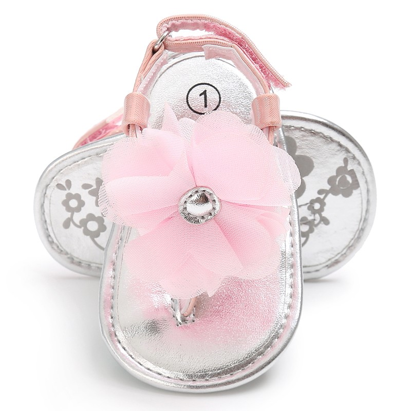 Newborn Baby Sandals Princesses Infant Kids Girl Big Flower Cute PU Summer Shoes Pink Yellow Black White