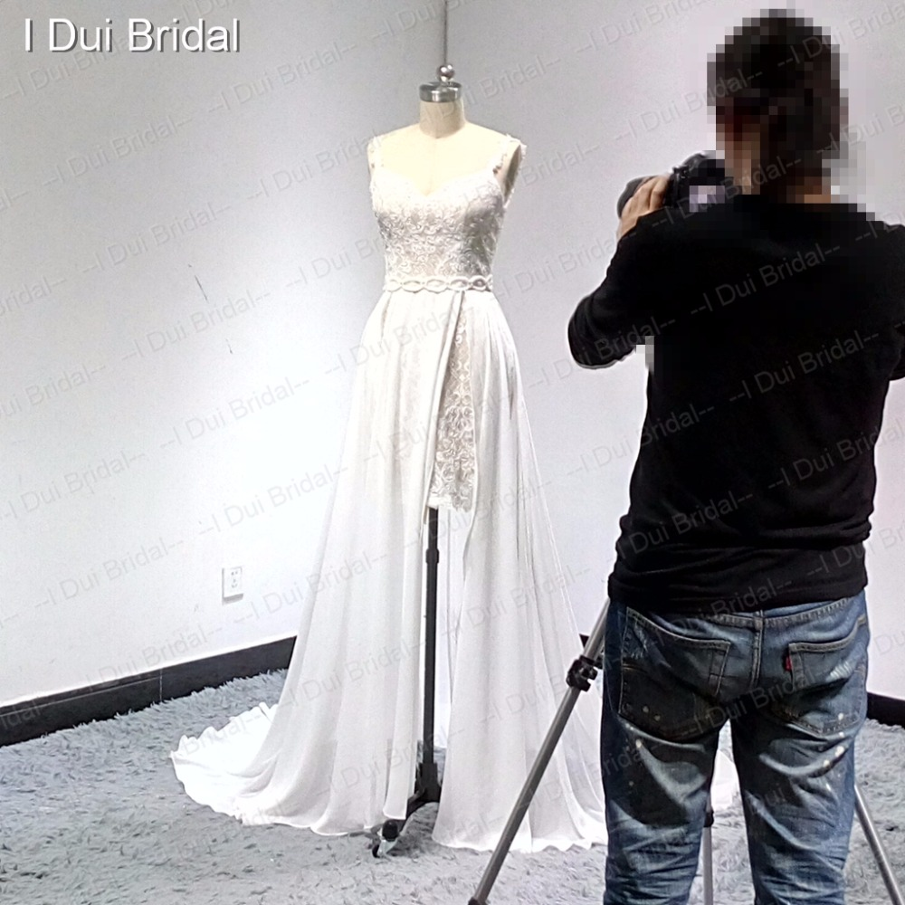 Berpisah Leg Out Lapisan Pendek Dalam Panjang Chiffon Wedding Tas Anyaman Kulit Asli Chameo Couture Opal Rantai Brown Cream Cokelat Muda 20170620215310 1