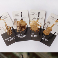 Music Instruments Piano Ukulele Drum Kit Saxophone Bookmark Gold Plated Metal Craft Bookmark For Birthday Party