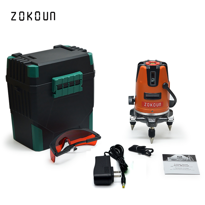 купить US Plug ZOKOUn 05RCO 5 lines 6 points 360 degrees rotary outdoor mode available self leveling red line laser level онлайн
