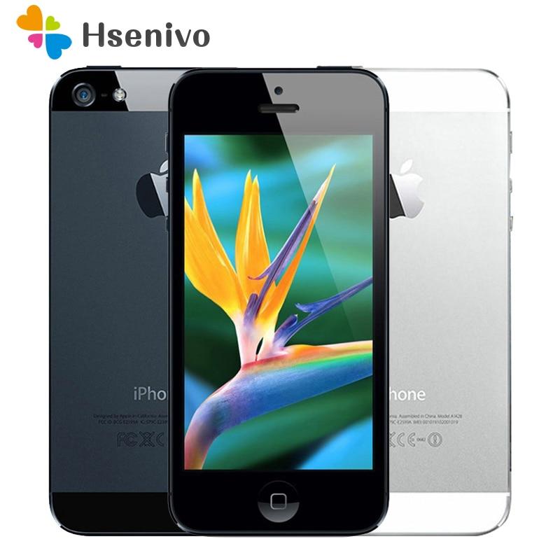 100% usine Original débloqué Iphone 5 Apple téléphone portable 16 GB 32 GB ROM 16 GB 32 GB 64 GB IOS 4.0 pouces 8MP WIFI GPS utilisé remis à neuf